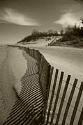 Sand Fences Framed Prints - Fence Line Framed Print by Timothy Johnson