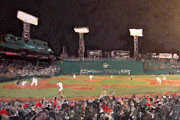 Fenway Park Painting Posters - Fenway Night Poster by Romina Diaz-Brarda