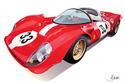 Automotive Illustration Framed Prints - Ferrari 330 P4 Framed Print by Alain Jamar