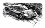 Exotic Drawings Metal Prints - Ferrari Dino Metal Print by David Lloyd Glover