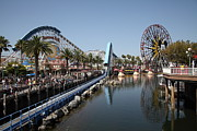 Disney California Adventure Park Framed Prints - Ferris Wheel and Roller Coaster - Paradise Pier - Disney California Adventure - Anaheim California - Framed Print by Wingsdomain Art and Photography
