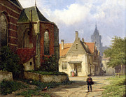 Red Buildings Posters - Figure before a Redbrick Church in a Dutch Town Poster by Willem Koekkoek