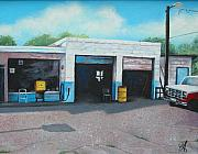 Service Station Paintings - Filler-up by Carrie Auwaerter