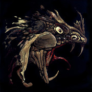Black Glass Art Originals - Fire Dragon by Liz Molnar