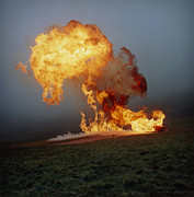 Lpg Explosion Prints - Fireball From Liquid Petroleum Gas Explosion Print by Crown Copyrighthealth & Safety Laboratory