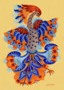 Neutral Drawings Posters - Firebird Poster by Olena Kulyk