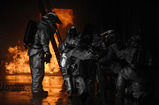 Aluminized Photo Prints - Firefighters Extinguish A Simulated Print by Stocktrek Images