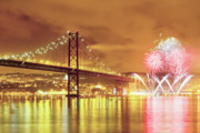 Pyrotechnics Framed Prints - Fireworks at New Years Eve in Lisbon Framed Print by Andre Goncalves
