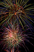 Trails Photo Posters - Fireworks Celebration Poster by Garry Gay