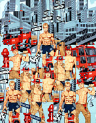 Collage Tapestries - Textiles Metal Prints - First Responders Metal Print by Bob Hoffmann