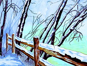 Snow Paiting Posters - First Snowfall Poster by Brenda Owen