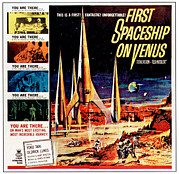 1960s Poster Art Posters - First Spaceship On Venus Aka Der Poster by Everett