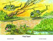 U.s. Army Painting Prints - First Team Print by Dennis Vebert