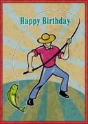 Fisherman Catching Fish Print by Aloysius Patrimonio