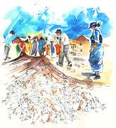 Fishermen Drawings - Fishermen in Praia de Mira by Miki De Goodaboom