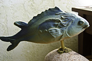 Sculpture Ceramics Metal Prints - Fishers of Men Metal Print by Christine Belt