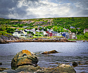 Cabins Photo Framed Prints - Fishing village in Newfoundland Framed Print by Elena Elisseeva