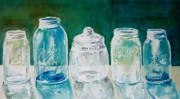 Ball Jars Posters - Five Jars in Window  Poster by Sukey Jacobsen