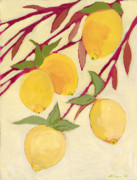 Lemon Yellow Posters - Five Lemons Poster by Jennifer Lommers