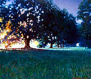 Oak Trees Paintings - Five Oaks by Kevin Lawrence Leveque