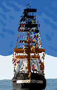 Jose Gasparilla Pirate Ship Posters - Flags of Gasparilla Poster by David Lee Thompson