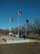 Civil War Site Prints - Flags with Blue Sky Print by Kip DeVore