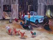 Edge Of The West Paintings - Flat Tire by Gail Daley