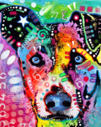 Dog Pet Portraits Mixed Media Posters - Flipped Poster by Dean Russo