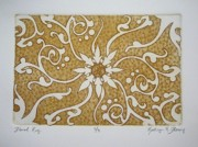 Texture Floral Drawings Prints - Floral Rug Print by Kathryn Fleming