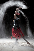 Red Dress Posters - Flour Dancing Series Poster by Cindy Singleton
