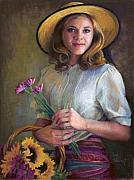Hat Pastels Framed Prints - Flower Peddler Framed Print by Jean Hildebrant