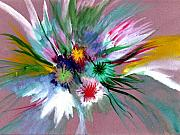 Anil Nene Mixed Media Posters - Flowers Poster by Anil Nene