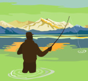 Mountain Lake Posters - Fly Fisherman Casting Poster by Aloysius Patrimonio