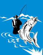 Woodcut Posters - Fly fisherman catching trout Poster by Aloysius Patrimonio