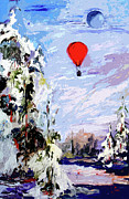 Winter Landscape Paintings - Fly Me To The Moon by Ginette Fine Art LLC Ginette Callaway