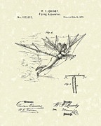 Flight Drawings Metal Prints - Flying Apparatus 1872 Patent Art Metal Print by Prior Art Design
