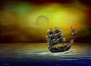 Pirate Ships Digital Art Posters - Flying Dutchman Poster by Diane Haas
