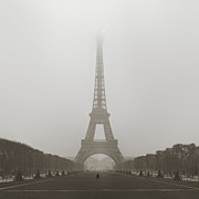 Silhouetted Metal Prints - Foggy Morning in Paris Metal Print by Metro DC Photography