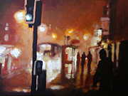 Haze Painting Prints - Foggy Suburban London Print by Paul Mitchell