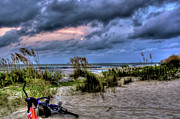 Beach Towel Prints - Folly Beach at Dusk Print by Drew Castelhano