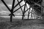 Folly Beach Posters - Folly Beach Pier Black and White Poster by Dustin K Ryan
