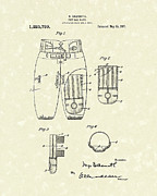 Pants Drawings Posters - Football Pants 1917 Patent Art Poster by Prior Art Design