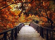 Autumn Landscape Digital Art - Footbridge by Jessica Jenney