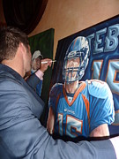 Florida Gators  Paintings - FOR SALE TIM  signing Broncos ORIGINAL PAINTING by Sports Art World Wide John Prince