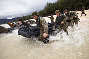 Inflatable Photos - Force Reconnaissance Marines Sprint by Stocktrek Images