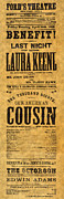Our American Cousin Prints - Fords Theatre, 1865 Print by Granger
