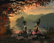 Pixquik Prints - Forest Elves a sunset Print by John Junek