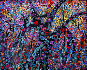 Tree Blossoms Paintings - Forest Of Love by Suzeee Creates