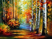 Woods Painting Originals - Forest Road by Leonid Afremov