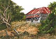 Old Fence Posts Painting Prints - Forgotten Dreams Print by Val Stokes